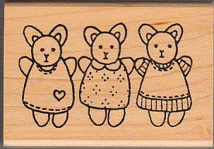 Azadi Earles Rubber Stamps Stamp 3 Three Bunnies