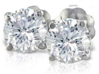 42 CARAT ROUND DIAMOND STUDS 14 KARAT WHITE GOLD STUD EARRINGS