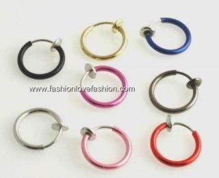 1pair Spring Clip on Hoops Earrings 8 Colors ½ or 13mm