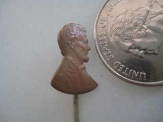 Abraham Lincoln Head Copper Penny Carved Stick Pin