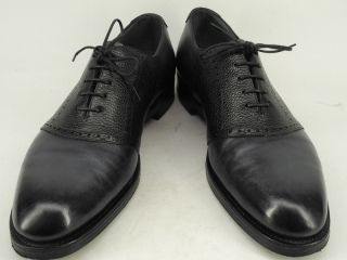 Mens shoes navy blue black leather Edward Green 10 5 D saddle oxford
