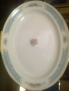 Edwin M Knowles Vitreous China Platter Blue Band Pink Flowers