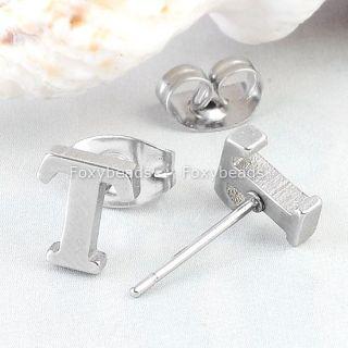 Cool Stainless Steel Letter T Alphabet Ear Stud Earring Men