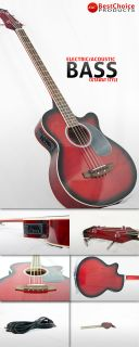 Red Electric Acoustic Bass Guitar w Equalizer EBA RD1