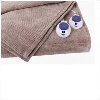 Micro Plush Electric Heated Triple Rib Queen Size Blanket Beige