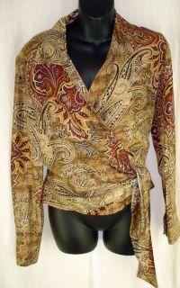 Due Per Due Sz 6 Wrap Blouse Silk Gorgeous Paisley Print Golds Black