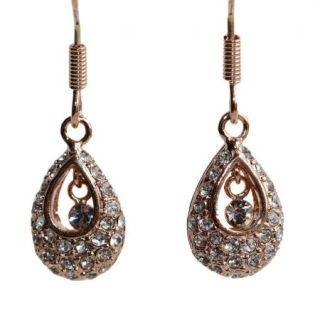 Use Swarovski Crystal 18K Gold GP Wedding Bridal Stud Dangle Earrings