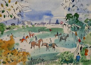RAOUL DUFY ASCOT WATERCOLOR GALLERY STAMP REVERSE ALFRED POYET