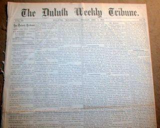 headline newspaper w GREAT FIRE of DULUTH Minnesota w LOCAL COVERAGE