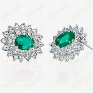 White Gold GP Ear Pin Use Green Swarovski Crystal Stud Earring