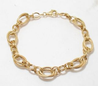 Textured Double Oval Link Bracelet 14k Yellow Gold