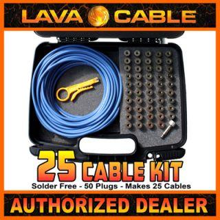 Lava Solder Free Mini ELC Pedalboard Cable Kit Case Blue 50 Straight