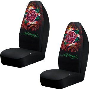 ED HARDY DEDICATED TO THE ONE I LOVE BUCKET SEAT COVERS (PAIR) BLACK