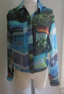 "Rag Bone Silk ""Shirt Jacket"" Blouse in Blue Multi Size 2 Authentic $350"