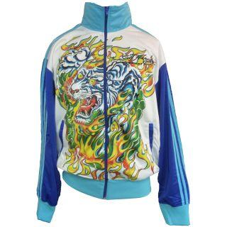 Ed Hardy White Mens Flaming Tiger Track Jacket