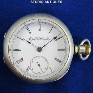 Elgin Pocket Watch Antique Dueber Silverine 15J Grade 142 18s Lever
