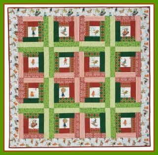 Easy Quilt Kit Christmas Fun Cabin Fever Red Green Quilt Fabric Argyle