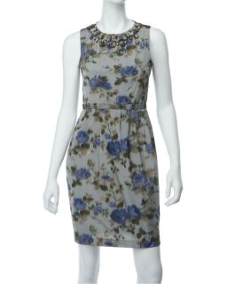 Eliza J Grey Beaded Neck Floral Dress