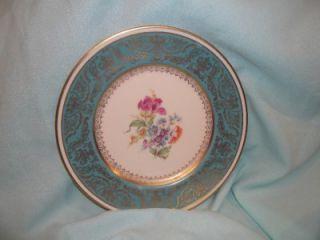 Vintage Edgerton E219 505 10 Plate Aqua Ornate Gold Purple Pink Blue