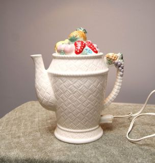 JAPAN Ceramic White ELECTRIC Teapot Fruit Design Plug in Tea Pot WORKS