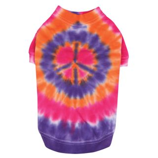 Casual Canine Bright Tie Dye Peace Sign Dog Tee Shirt