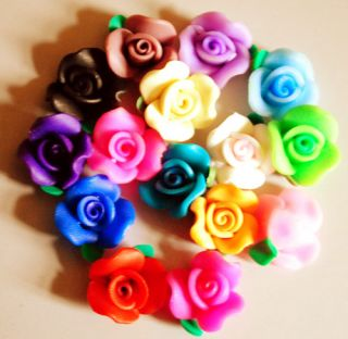 15pcs Mixed Color Fimo Polymer Clay Heart Flower Charmful Beads 10mm