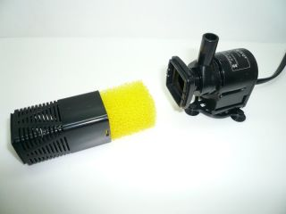 in 1 Mini Submersible Water Pump and Sponge Filter