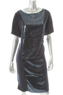Ellen Tracy New Status Navy Sequined BATEAU Neck Shift Cocktail