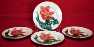 Set of 4 Vintage Fitz Floyd Tulipe Rouge Salad Snack Plates Japan