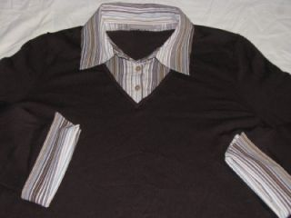 Croft Barrow Sweater w Shirt Panel Womens Plus 1x