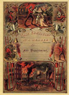 1800s FIREFIGHTER DEPARTMENT MEMBERSHIP POSTER FIREMAN CERTIFICATE NEW