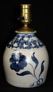 Signed Ellis Pinehurst MO pottery stoneware blue floral design vintage