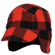 New Elmer Fudd Style Flannel Fleece Cap Hat Red Black