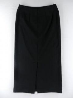 Eddie Bauer Long Black Wool Blend Straight Back Slit Skirt Womens Sz 6