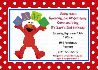 Elmo Invitation Invite M2M Favors Labels Seals DIY Personalized Custom