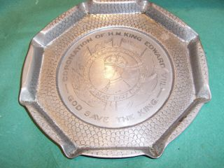 Vintage Pewter Plate King Edward V Coronation 1937
