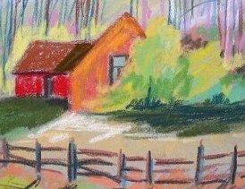 Original House Landscape Pastel Painting JMW Art John Williams