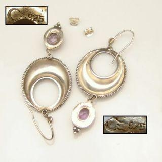 Sterling Silver Earrings Large Oval Dangles Amethyst Drops