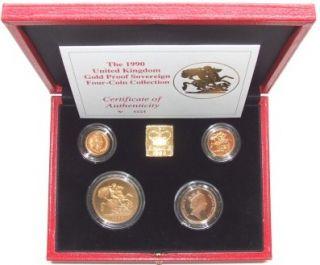 1990 Queen Elizabeth II 4 Coin Gold Proof Sovereign set.