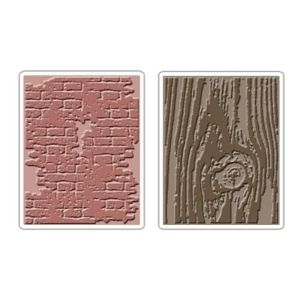Texture Fades Bricked Woodgrain Set Sizzix Embossing Folders