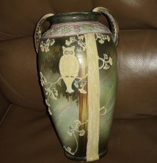 Amazing Antique Early 1900s NIPPON OWL in Branch VASE MORIAGE 13