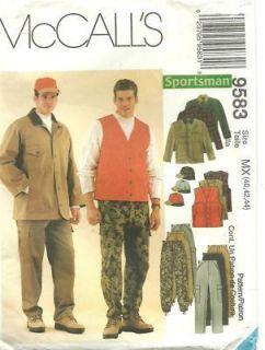 McCalls 9583 OOP Sewing Pattern UNCUT Mens Hunting Jacket Vest Pants