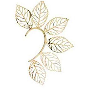 Rock Gold Plated Women Filigree Leaf Ear Cuff Earrings Fashion