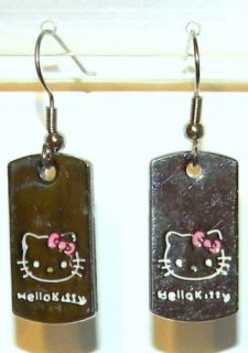 Kitty Silver Dog Tag Dangle Charm Earrings Hypo Allergenic