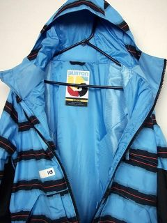 Burton Snowboard Andover Ski Jacket Gore Tex Blue 23 Stripe Mens L New