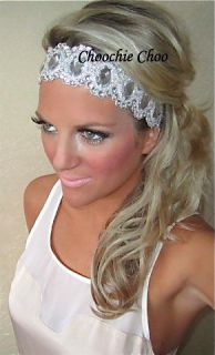Silver Diamond Diamante Gem Beaded Statement Thick Head Hair Band