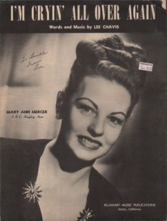 1947 AUTOGRAPHED sheet music ENCINO, CALIFORNIA Mary Ann Mercer of N.B