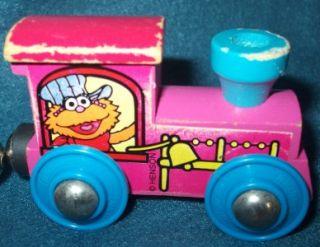 Wooden Train 6 Piece Set Wood Zoe Elmo Ernie Oscar Grover