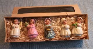 Box Set 5 West German Christmas Girl Angel Ornaments