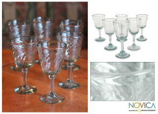 Elegance Hand Blown Mexican Wine Glasses Set 6 New